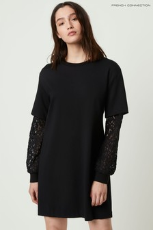 French Connection Black Sabinne Lace Sleeved Dress