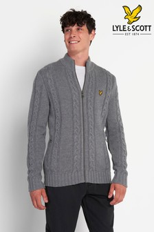 Lyle & Scott Mid Grey Marl Cable Knit Zip Through Cardigan