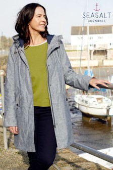 Seasalt Blue Seafaring Coat Rosevean Light Night