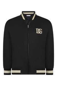 Boys Navy Cotton Zip Up Top