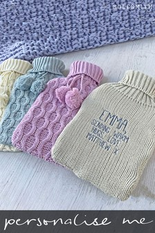 Personalised Hidden Message Knitted Hot Water Bottle by Solesmith