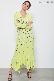 Mint Velvet Yellow Juliet Floral Midi Dress