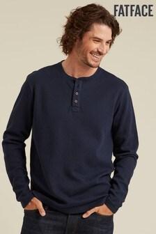 FatFace Winsford Henley-T-Shirt mit Waffelmuster, blau