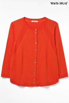 White Stuff Orange Jardin Crew Neck Cardigan