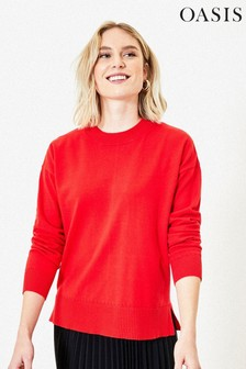 Oasis Red Crew Neck Knit Jumper