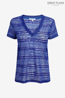 Great Plains Blue Camilla Texture V-Neck Top
