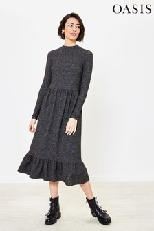 Oasis Dark Grey Animal Cosy Skater Dress