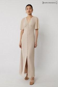Warehouse Mink Angel Sleeve Bridesmaid Dress
