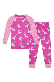 Girls Organic Cotton Pink And Purple Pyjamas