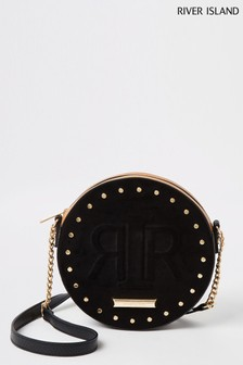River Island Black 2993 Circle Embossed Cross Body Bag