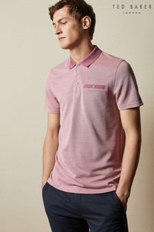 Ted Baker Pink Carosel Flat Knit Collar Oxford Soft Touch Polo
