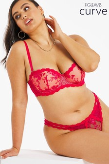 Figleaves Curve Red Bella Embroidery Lace Multiway Bra