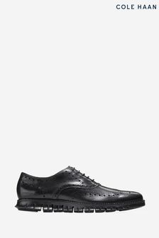 Cole Haan Black Zerogrand Wingtip Oxford Shoes