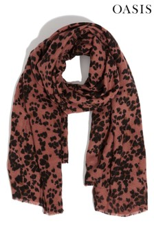 Oasis Animal Ginger Leopard Midweight Scarf