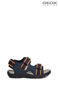 Geox Junior Boys R Strada Navy/Fluro Orange Sandals