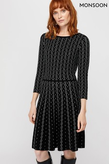 Monsoon Black Faye Fit And Flare Dress