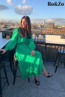 Ro&Zo Green Gathered Frill Midi Dress