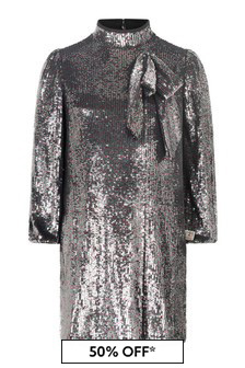 Girls Silver Sequins Dress