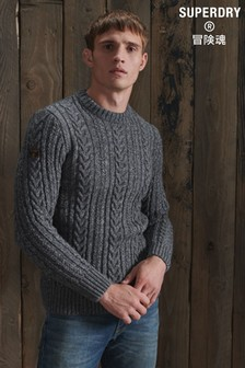 Superdry Charcoal Jacob Cable Crew Neck Jumper
