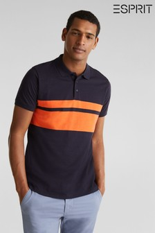 Esprit Blue Polo With 2 Vertical Stripes And Buttons