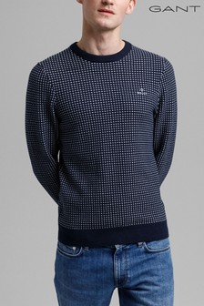 Gant Blue Texture Fisherman Crew Neck Jumper