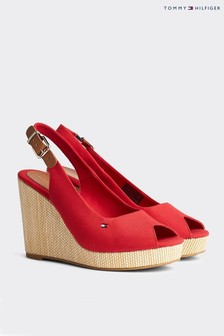 Tommy Hilfiger Red Elena Slingback High Wedge Shoes