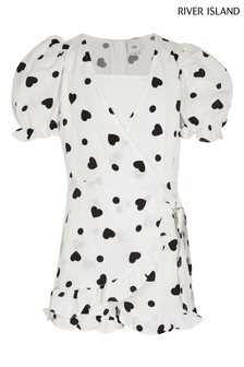 River Island White Wrap Frill Playsuit