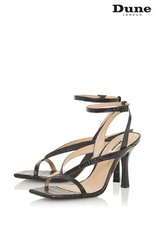 Dune London Monterey T Black Croc Print Leather Square Toe High Heel Sandals