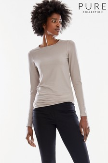 Pure Collection Natural Soft Jersey Crew Neck Top