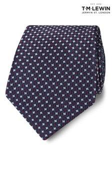 T.M. Lewin Wide Navy And Burgundy Puppytooth Silk Tie
