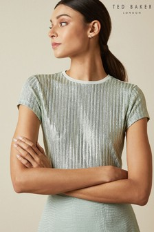 Ted Baker Green Catrino Metallic Fitted T-Shirt