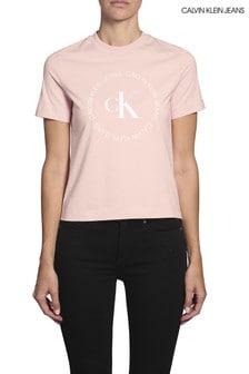 Calvin Klein Jeans T-Shirt mit rundem Logo, Pink