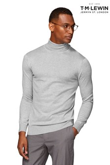 T.M. Lewin Clifford Supima® Cotton Silk Soft Grey Slim Fit Roll Neck Jumper