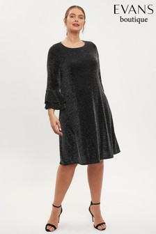 Evans Curve Silver Sparkle Flute Sleeve Dress
