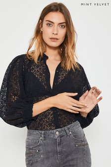 Mint Velvet Ivory Floral Burnout Shirt