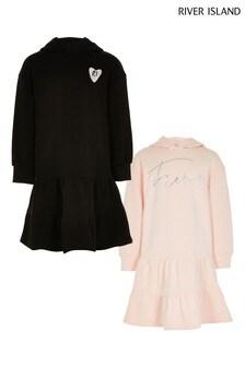 River Island Pink Light Og 2 Pack Tiered Sweat Dress