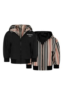 Baby Boys Black And Icon Stripe Reversible Jacket