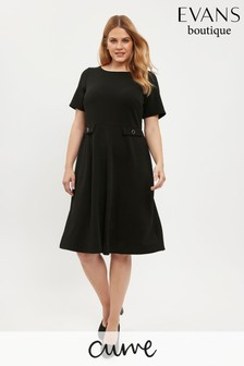 Evans Curve Black Button Fit And Flare Dress
