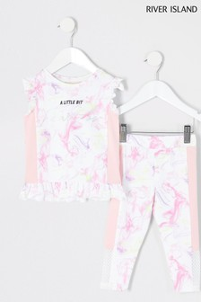 River Island White Printed Active Set