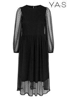 Y.A.S Black Textured Spot Lisso Midi Dress