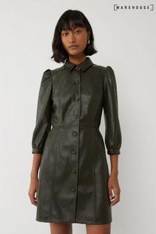 שמלת חולצה מיני מעור מלאכותי בצבע ירוק שלWarehouse