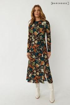Warehouse Black Retro Floral Midi Dress