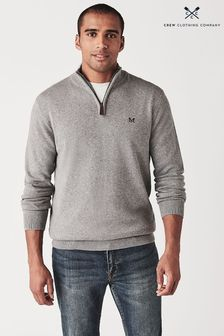 Crew Clothing Grey Classic 1/2 Zip Jumper