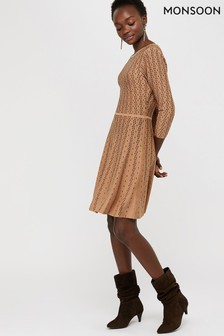 Monsoon Camel Faye Fit And Flare Dress