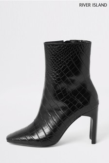 River Island Black 1030 Block Heel Boots