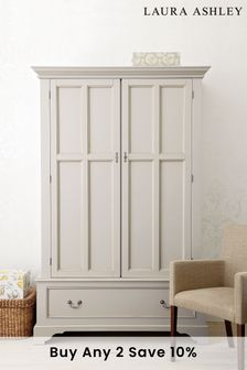 Clifton Dove Grey 2 Door 1 Drawer Wardrobe by Laura Ashley