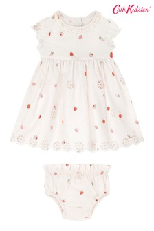 Cath Kidston Cream Sweet Strawberry Baby Broderie Anglaise Dress