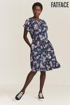 FatFace Blue Cynthia Polkadot Meadow Dress