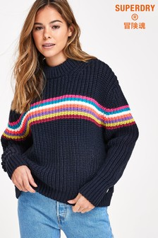 Superdry Neon Stripe Ribbed Crew Neck Jumper