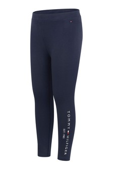 Girls Navy Cotton Logo Leggings